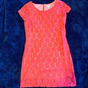 Coral floral lace dress